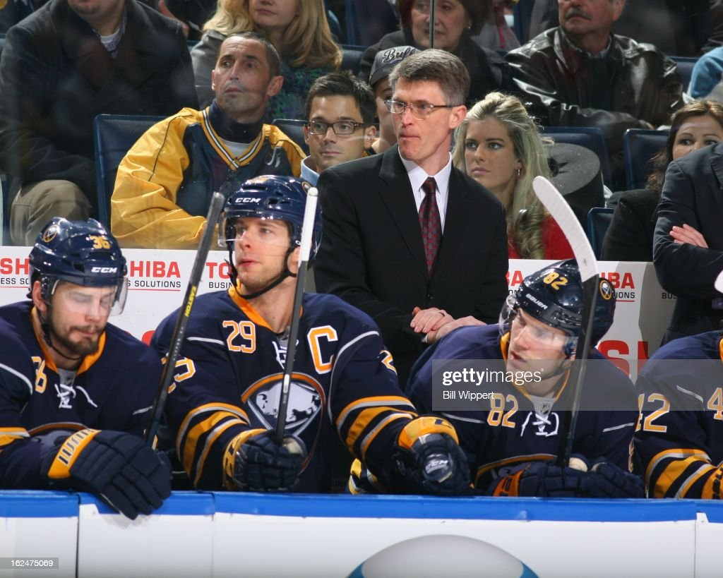 Head coach <a gi-track='captionPersonalityLinkClicked' href=/galleries/search?phrase=Ron+Rolston&family=editorial&specificpeople=5484106 ng-click='$event.stopPropagation()'>Ron Rolston</a> of the Buffalo Sabres watches the action against the New York Islanders on February 23, 2013 at the First Niagara Center in Buffalo, New York.