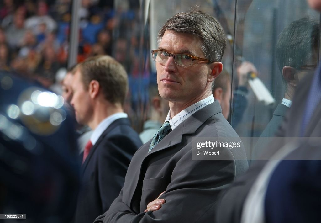 Head coach Ron Rolston of the Buffalo Sabres watches the action against the New York Islanders on April 26, 2013 at the First Niagara Center in Buffalo, New York.