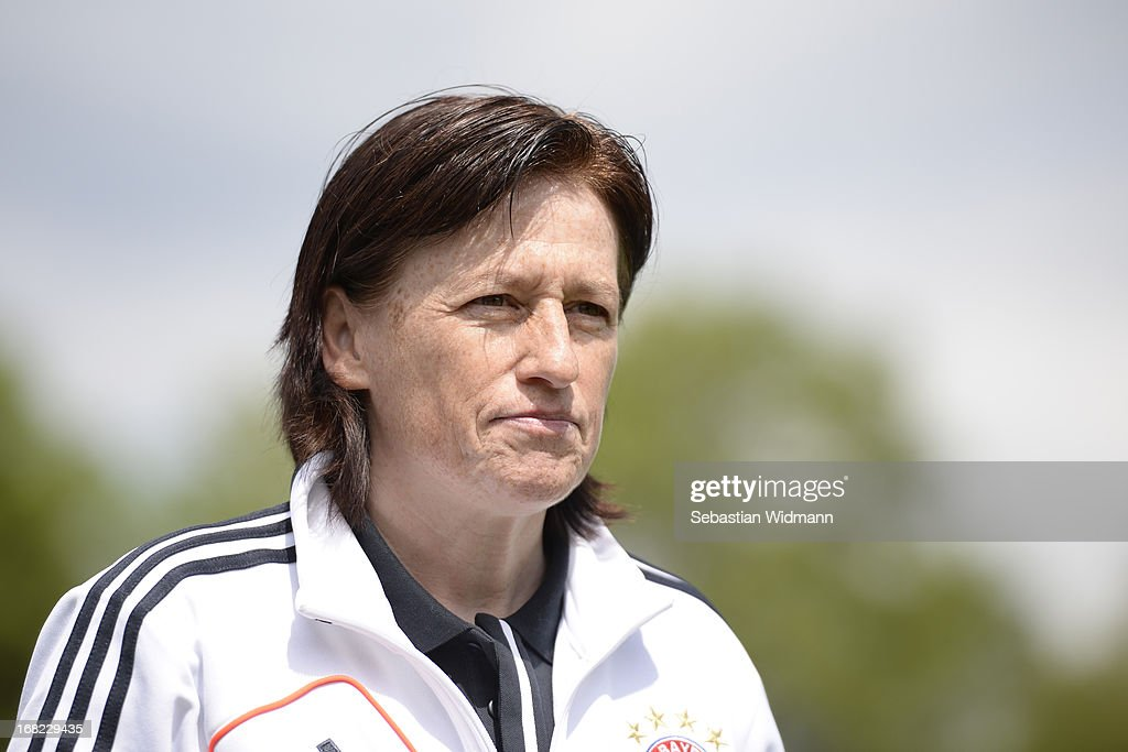 Head coach Roswitha Bindl of Muenchen before the B Junior Girls match between Bayern Muenchen and VfL Sindelfingen at Sportpark Aschheim on May 4, 2013 in Aschheim, Germany.