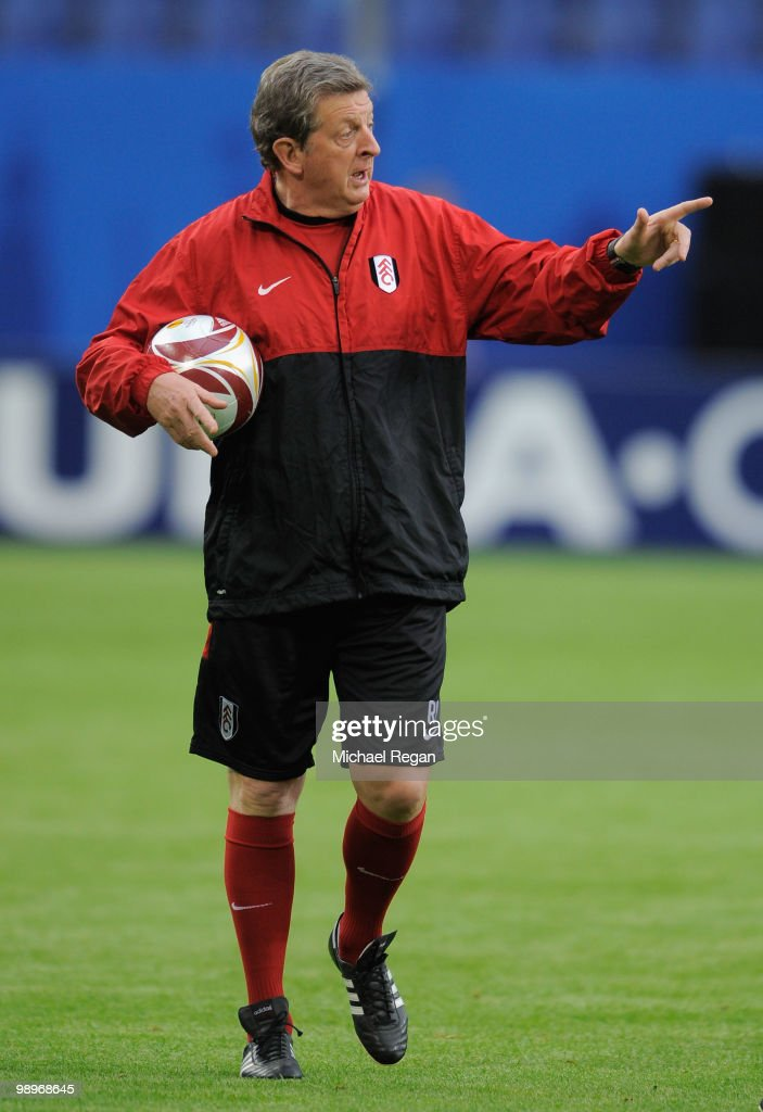 Head coach Roy Hodgson issues instructions during the Fulham training session ahead of the UEFA Europa League final match against Atletico Madrid at HSH Nordbank Arena on May 11, 2010 in Hamburg, Germany.