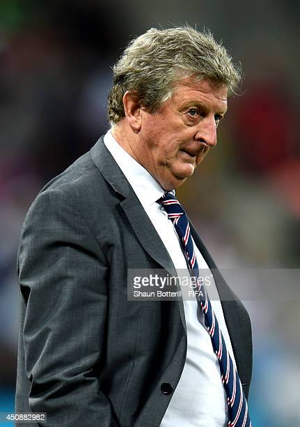 Head coach Roy Hodgson of England looks on during the 2014 FIFA World Cup Brazil Group D match between Uruguay and England at Arena de Sao Paulo on...