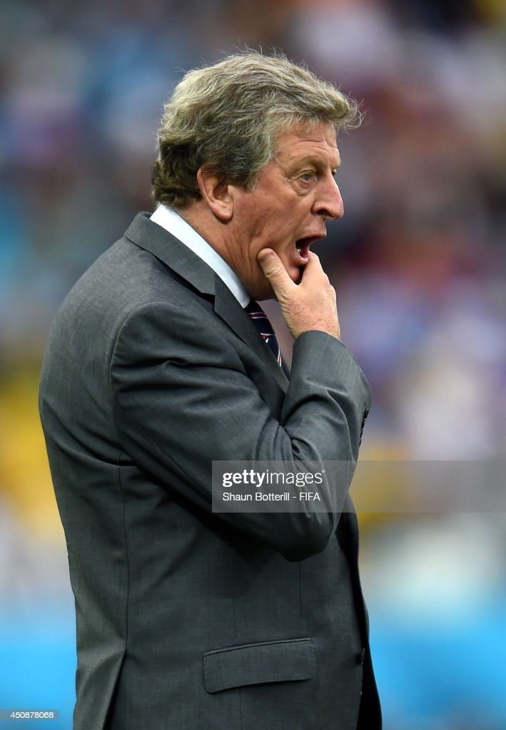 Head coach <a gi-track='captionPersonalityLinkClicked' href=/galleries/search?phrase=Roy+Hodgson&family=editorial&specificpeople=881703 ng-click='$event.stopPropagation()'>Roy Hodgson</a> of England reacts during the 2014 FIFA World Cup Brazil Group D match between Uruguay and England at Arena de Sao Paulo on June 19, 2014 in Sao Paulo, Brazil.