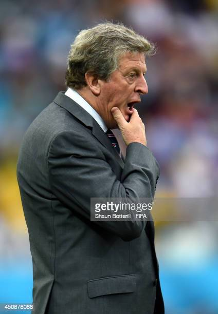 Head coach Roy Hodgson of England reacts during the 2014 FIFA World Cup Brazil Group D match between Uruguay and England at Arena de Sao Paulo on...