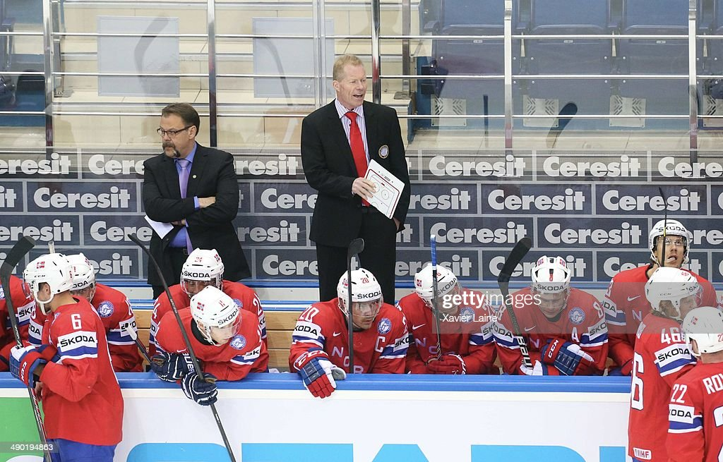 Head coach Roy Johansen of Norway during the 2014 IIHF World Championship between Sweden and Norway at Chizhovka arena on May 13, 2014 in Minsk, Belarus.