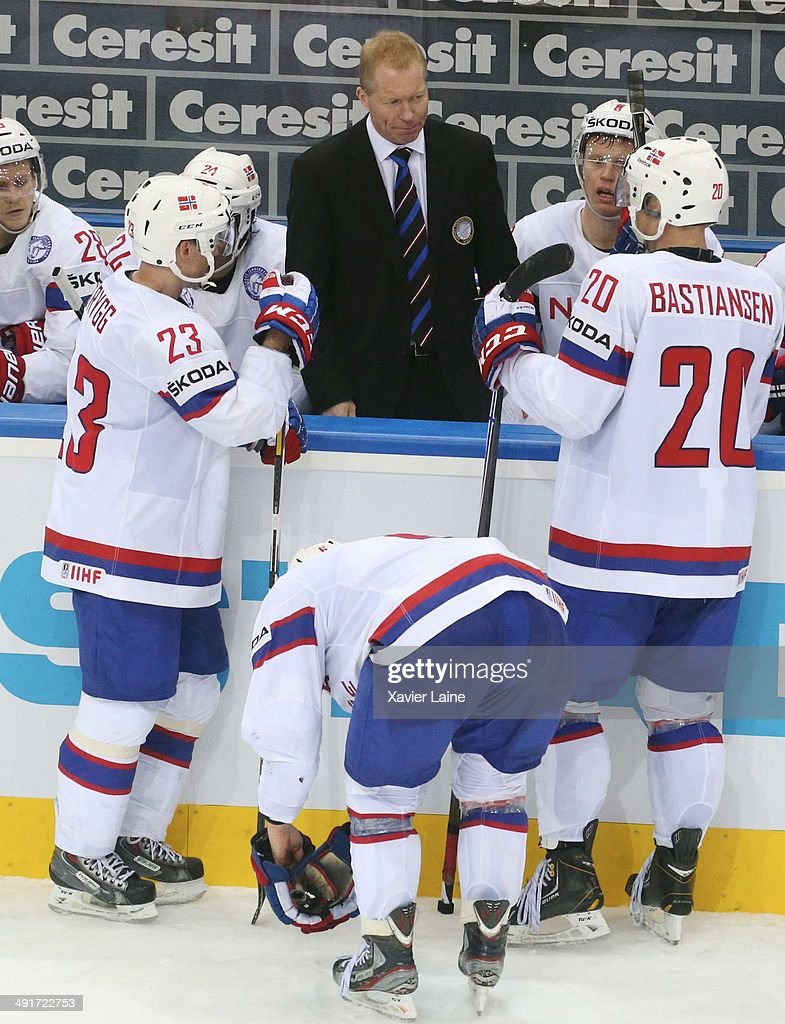 Head coach Roy Johansen of Norway during the 2014 IIHF World Championship between France and Norway at Chizhovka arena on may 17,2014 in Minsk, Belarus.