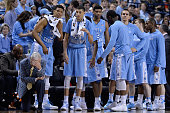 Head coach Roy Williams and the North Carolina Tar Heels react during a loss to the Notre Dame Fighting Irish in the championship game of the ACC...