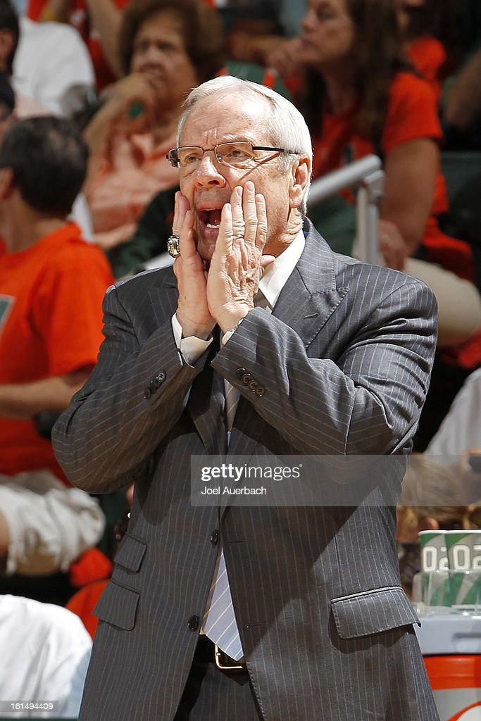 Head coach Roy Williams of the North Carolina Tar Heels calls a play during second half action against the Miami Hurricanes on February 9, 2013 at the BankUnited Center in Coral Gables, Florida. Miami defeated North Carolina 87-61.