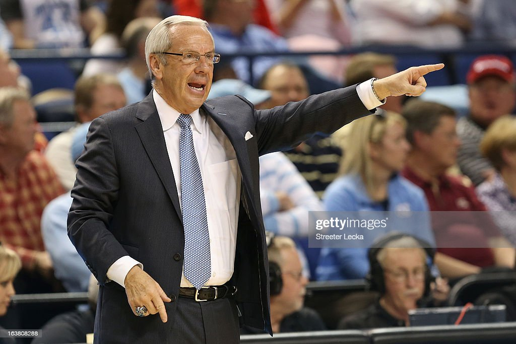 Head coach Roy Williams of the North Carolina Tar Heels calls out in the second half while taking on the Maryland Terrapins during the men's ACC Tournament semifinals at Greensboro Coliseum on March 16, 2013 in Greensboro, North Carolina.