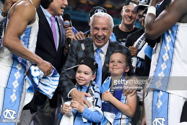 Head coach Roy Williams of the North Carolina Tar Heels celebrates following the 2017 NCAA Men's Final Four National Championship game against the...