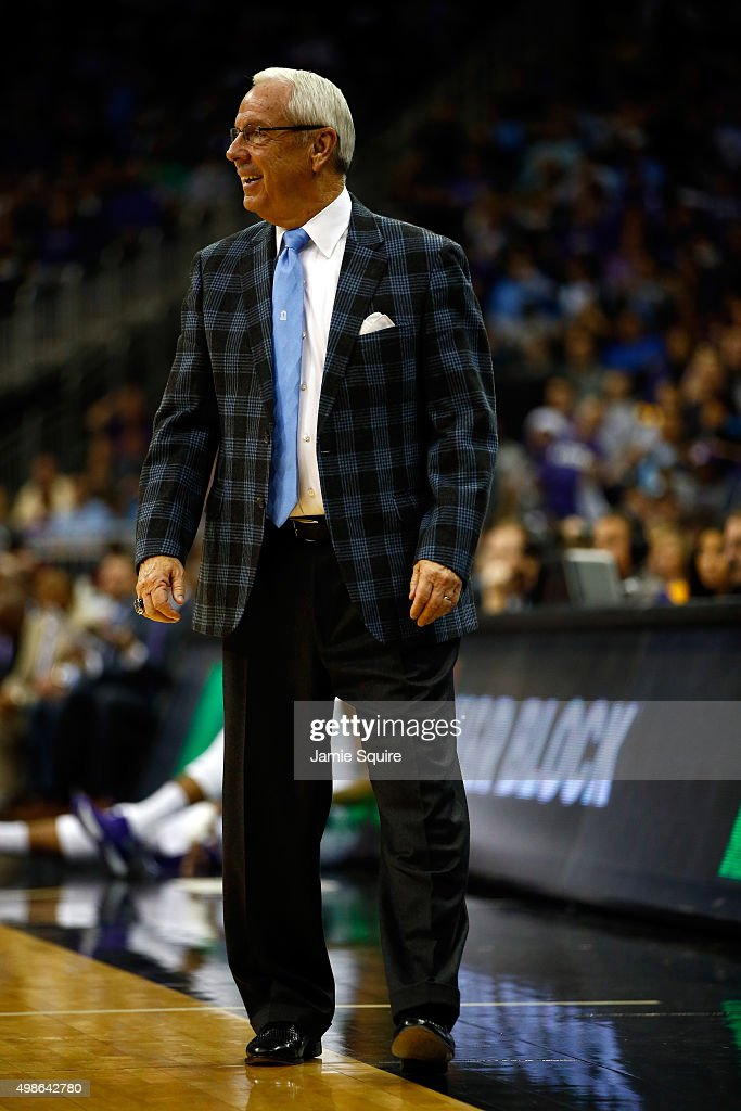 Head coach <a gi-track='captionPersonalityLinkClicked' href=/galleries/search?phrase=Roy+Williams+-+Basketballtrainer&family=editorial&specificpeople=5086044 ng-click='$event.stopPropagation()'>Roy Williams</a> of the North Carolina Tar Heels coaches from the sidelines during the CBE Hall Of Fame Classic game against the Kansas State Wildcats at Sprint Center on November 24, 2015 in Kansas City, Missouri.