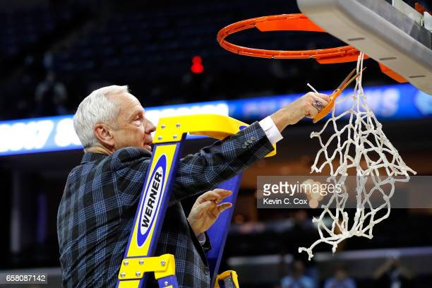 Head coach Roy Williams of the North Carolina Tar Heels cuts down the net after defeating the Kentucky Wildcats during the 2017 NCAA Men's Basketball...