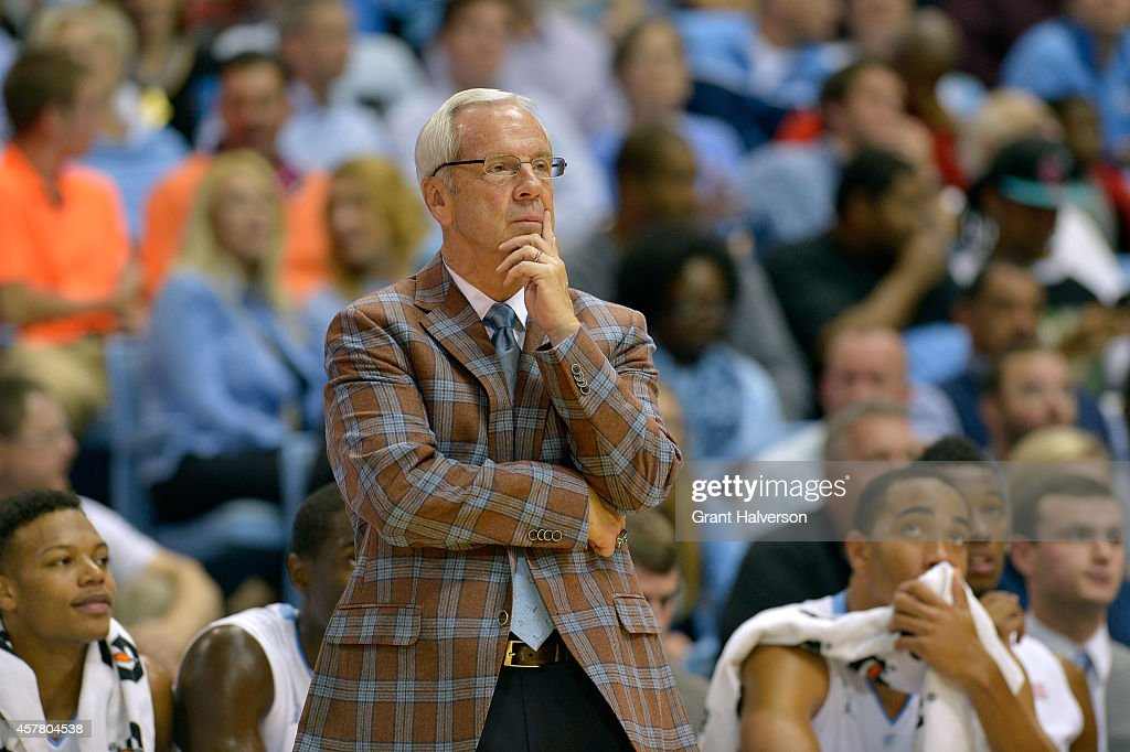 Head coach <a gi-track='captionPersonalityLinkClicked' href=/galleries/search?phrase=Roy+Williams+-+Basketball+-+Entra%C3%AEneur&family=editorial&specificpeople=5086044 ng-click='$event.stopPropagation()'>Roy Williams</a> of the North Carolina Tar Heels directs his team during their game against the Fayetteville State University Broncos at the Dean Smith Center on October 24, 2014 in Chapel Hill, North Carolina.