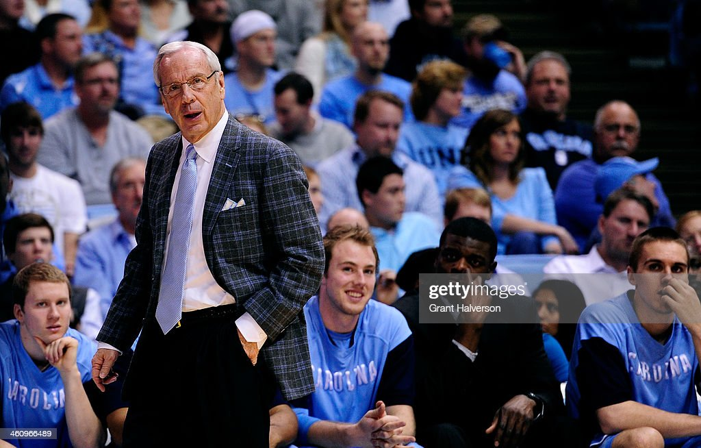 Head coach Roy Williams of the North Carolina Tar Heels directs his team against the North CarolinaWilmington Seahawks during their game at the Dean...