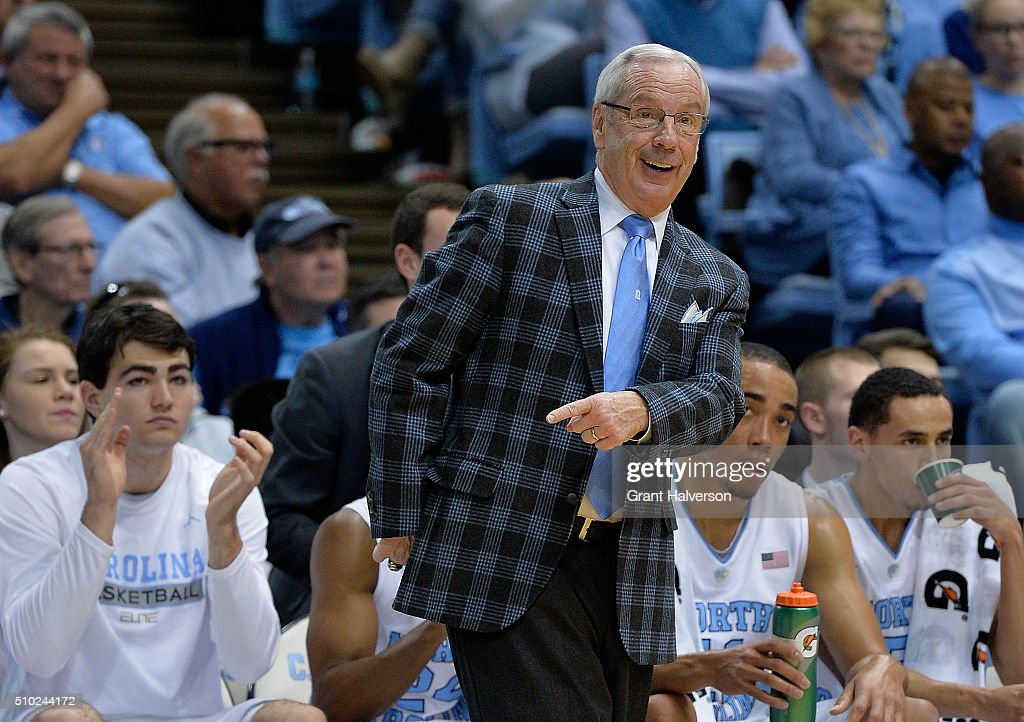 Head coach Roy Williams of the North Carolina Tar Heels disagrees with a call by the officials during their game against the Pittsburgh Panthers at the Dean Smith Center on February 14, 2016 in Chapel Hill, North Carolina.