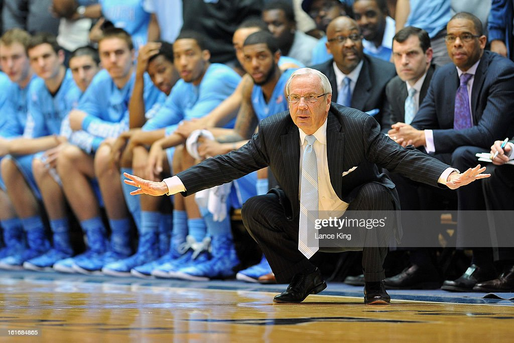 Head Coach Roy Williams of the North Carolina Tar Heels instructs his team during a game against the Duke Blue Devils at Cameron Indoor Stadium on February 13, 2013 in Durham, North Carolina. Duke defeated North Carolina 73-68.