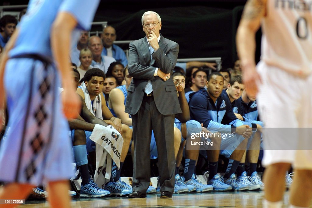 Head Coach Roy Williams of the North Carolina Tar Heels looks on during a game against the Miami Hurricanes at the BankUnited Center on February 9, 2013 in Coral Gables, Florida. Miami defeated North Carolina 87-61.