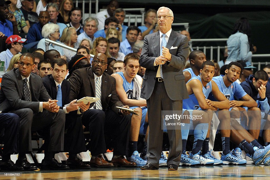 Head Coach Roy Williams of the North Carolina Tar Heels looks on from the sideline during a game against the Miami Hurricanes at the BankUnited Center on February 9, 2013 in Coral Gables, Florida. Miami defeated North Carolina 87-61.
