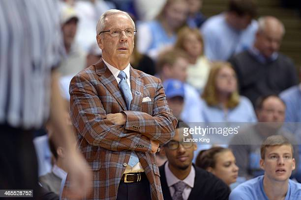 Head Coach Roy Williams of the North Carolina Tar Heels looks on during their game against the Georgia Tech Yellow Jackets at the Dean Smith Center...
