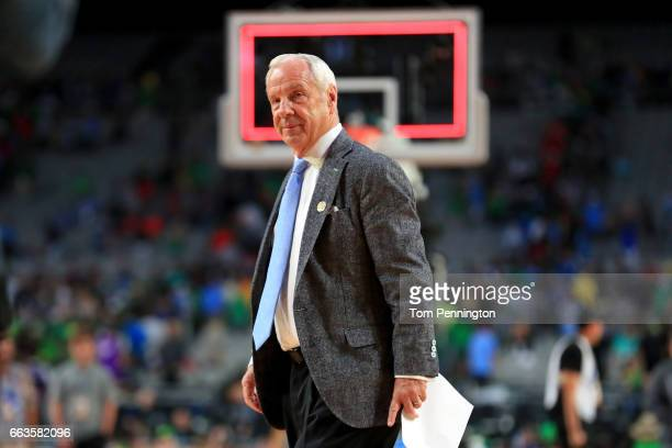 Head coach Roy Williams of the North Carolina Tar Heels looks on after defeating the Oregon Ducks during the 2017 NCAA Men's Final Four Semifinal at...