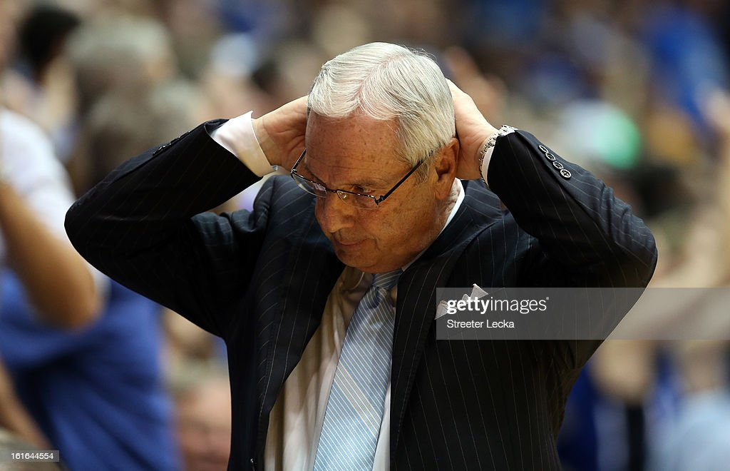 Head coach Roy Williams of the North Carolina Tar Heels reacts after a play during their game against the Duke Blue Devils at Cameron Indoor Stadium on February 13, 2013 in Durham, North Carolina.