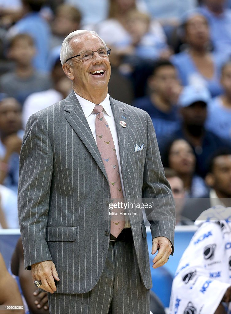 Head coach Roy Williams of the North Carolina Tar Heels reacts after a play against the Harvard Crimson during the second round of the 2015 NCAA Men's Basketball Tournament at Jacksonville Veterans Memorial Arena on March 19, 2015 in Jacksonville, Florida.