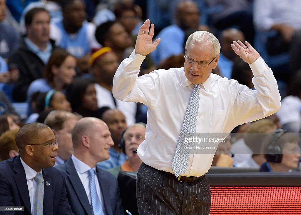 Head coach <a gi-track='captionPersonalityLinkClicked' href=/galleries/search?phrase=Roy+Williams+-+Coach&family=editorial&specificpeople=5086044 ng-click='$event.stopPropagation()'>Roy Williams</a> of the North Carolina Tar Heels reacts as a foul is called during their game against the Maryland Terrapins at the Dean Smith Center on December 1, 2015 in Chapel Hill, North Carolina. North Carolina won 89-81.