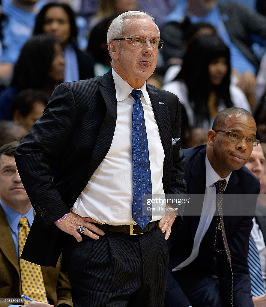 Head coach Roy Williams of the North Carolina Tar Heels reacts as a foul is called against his team during their game against the Georgia Tech Yellow Jackets at the Dean Smith Center on January 2, 2016 in Chapel Hill, North Carolina. North Carolina won 86-78.