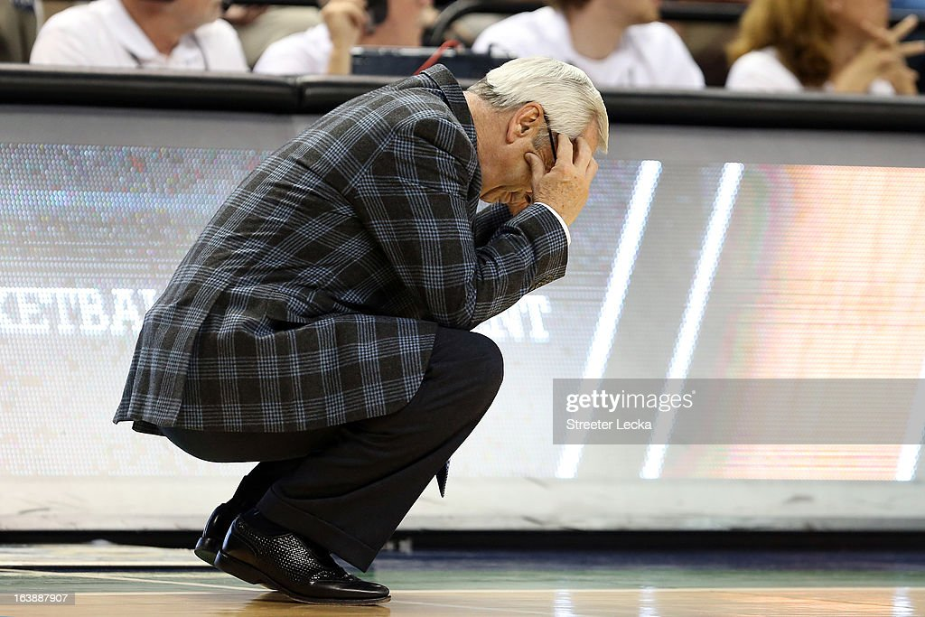 Head coach Roy Williams of the North Carolina Tar Heels reacts in the second half against the Miami (Fl) Hurricanes during the final of the Men's ACC Basketball Tournament at Greensboro Coliseum on March 17, 2013 in Greensboro, North Carolina.