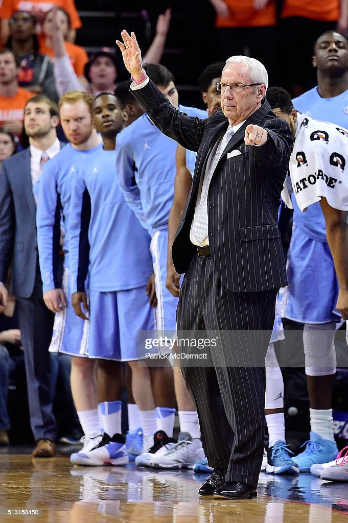Head coach <a gi-track='captionPersonalityLinkClicked' href=/galleries/search?phrase=Roy+Williams+-+Coach&family=editorial&specificpeople=5086044 ng-click='$event.stopPropagation()'>Roy Williams</a> of the North Carolina Tar Heels reacts in the first half during their game against the Virginia Cavaliers at John Paul Jones Arena on February 27, 2016 in Charlottesville, Virginia.