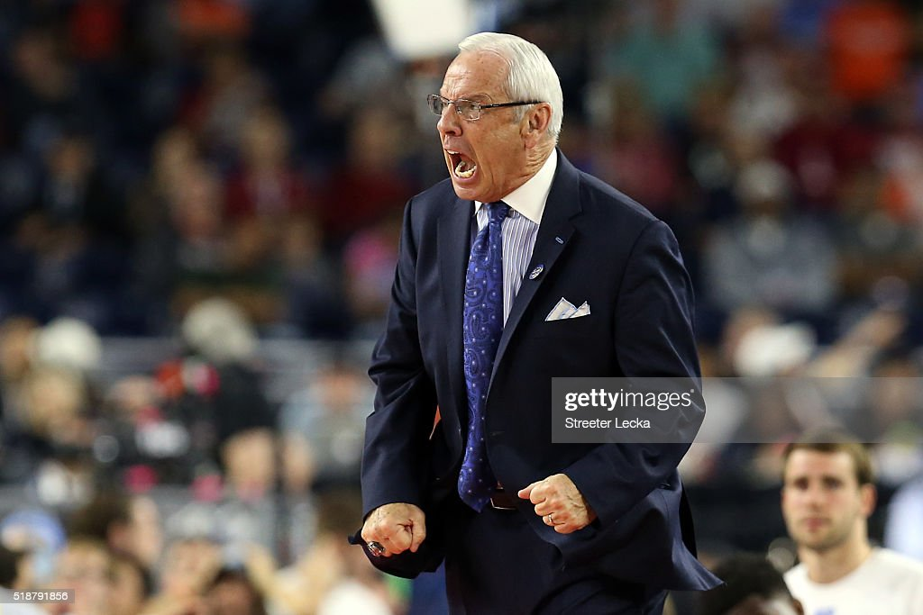 Head coach Roy Williams of the North Carolina Tar Heels reacts in the first half against the Syracuse Orange during the NCAA Men's Final Four Semifinal at NRG Stadium on April 2, 2016 in Houston, Texas.