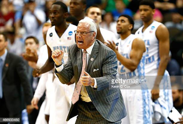 Head coach Roy Williams of the North Carolina Tar Heels reacts on the bench against the Harvard Crimson during the second round of the 2015 NCAA...