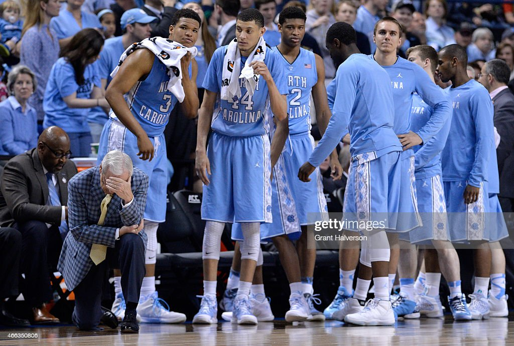 Head coach <a gi-track='captionPersonalityLinkClicked' href=/galleries/search?phrase=Roy+Williams+-+Coach&family=editorial&specificpeople=5086044 ng-click='$event.stopPropagation()'>Roy Williams</a> of the North Carolina Tar Heels reacts against the Notre Dame Fighting Irish during the 2015 ACC Basketball Tournament Championship game at Greensboro Coliseum on March 14, 2015 in Greensboro, North Carolina.