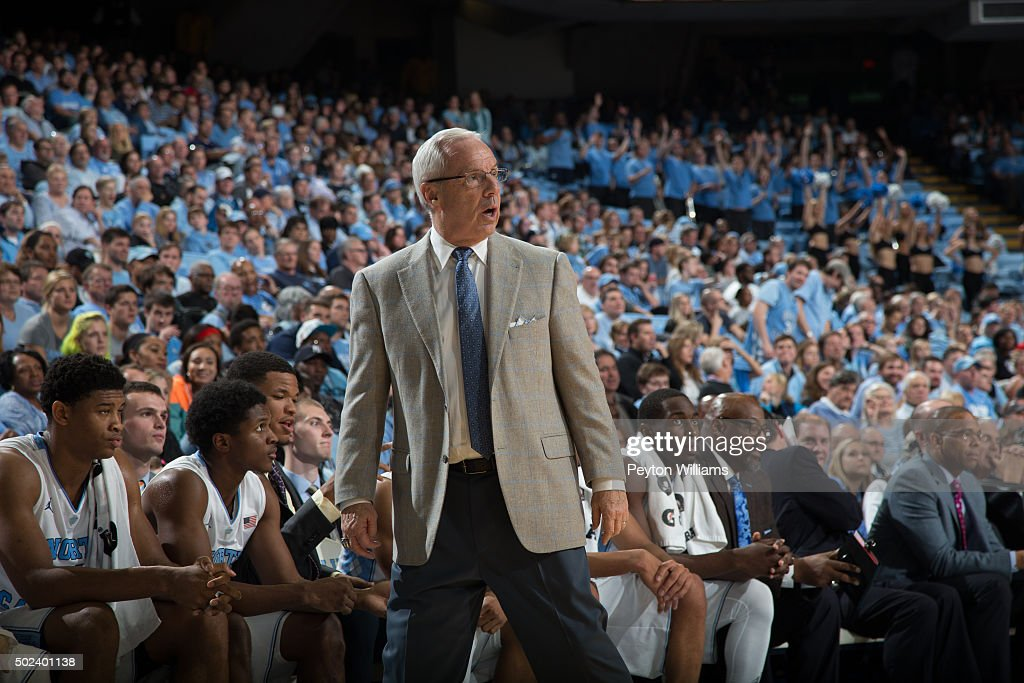 Head coach <a gi-track='captionPersonalityLinkClicked' href=/galleries/search?phrase=Roy+Williams+-+Coach&family=editorial&specificpeople=5086044 ng-click='$event.stopPropagation()'>Roy Williams</a> of the North Carolina Tar Heels reacts against the Tulane Green Wave on December 16, 2015 at the Dean E. Smith Center in Chapel Hill, North Carolina. North Carolina won 96-72.