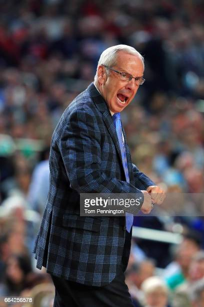 Head coach Roy Williams of the North Carolina Tar Heels reacts against the Gonzaga Bulldogs during the first half of the 2017 NCAA Men's Final Four...