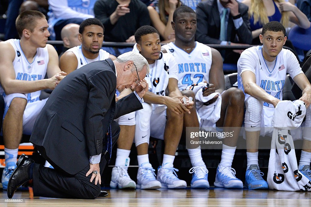 Head coach <a gi-track='captionPersonalityLinkClicked' href=/galleries/search?phrase=Roy+Williams+-+Basketball+-+Entra%C3%AEneur&family=editorial&specificpeople=5086044 ng-click='$event.stopPropagation()'>Roy Williams</a> of the North Carolina Tar Heels reacts to a turnover against the Boston College Eagles during a second round game of the ACC basketball tournament at Greensboro Coliseum on March 11, 2015 in Greensboro, North Carolina.