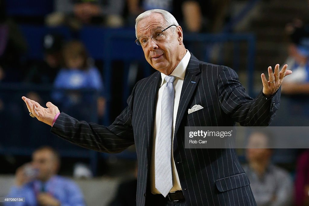 Head coach <a gi-track='captionPersonalityLinkClicked' href=/galleries/search?phrase=Roy+Williams+-+Coach&family=editorial&specificpeople=5086044 ng-click='$event.stopPropagation()'>Roy Williams</a> of the North Carolina Tar Heels reacts to a play against the Temple Owls in the first half during the Veterans Classic at Alumni Hall on November 13, 2015 in Annapolis, Maryland.
