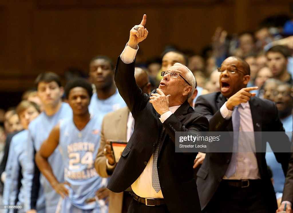 Head coach Roy Williams of the North Carolina Tar Heels reacts to a call during their game against the Duke Blue Devils at Cameron Indoor Stadium on...