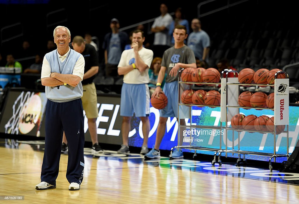 Head Coach <a gi-track='captionPersonalityLinkClicked' href=/galleries/search?phrase=Roy+Williams+-+Coach&family=editorial&specificpeople=5086044 ng-click='$event.stopPropagation()'>Roy Williams</a> of the North Carolina Tar Heels smiles during practice at Staples Center on March 25, 2015 in Los Angeles, California.
