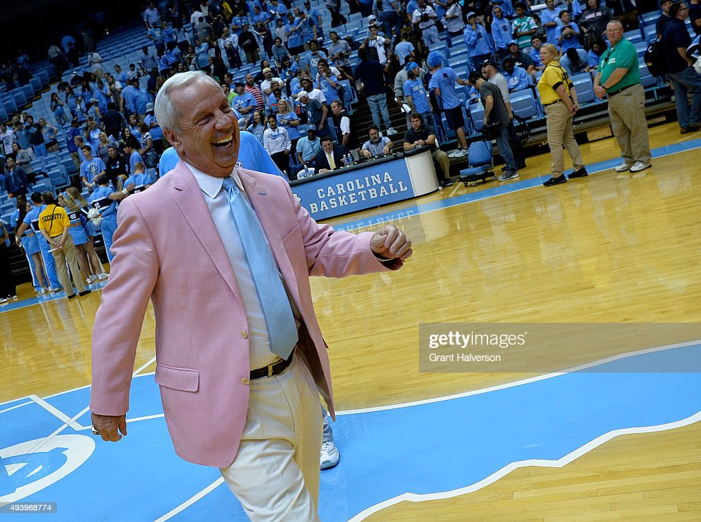 Head coach <a gi-track='captionPersonalityLinkClicked' href=/galleries/search?phrase=Roy+Williams+-+Basketball+-+Entra%C3%AEneur&family=editorial&specificpeople=5086044 ng-click='$event.stopPropagation()'>Roy Williams</a> of the North Carolina Tar Heels smiles during the annual Late Night with <a gi-track='captionPersonalityLinkClicked' href=/galleries/search?phrase=Roy+Williams+-+Basketball+-+Entra%C3%AEneur&family=editorial&specificpeople=5086044 ng-click='$event.stopPropagation()'>Roy Williams</a> basketball kickoff at the Dean Smith Center on October 23, 2015 in Chapel Hill, North Carolina.
