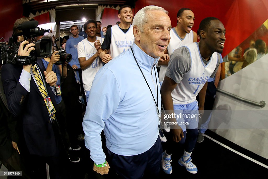 Head coach Roy Williams of the North Carolina Tar Heels takes the court with his team during a practice session for the 2016 NCAA Men's Final Four at NRG Stadium on April 1, 2016 in Houston, Texas.