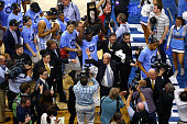 Head coach Roy Williams of the North Carolina Tar Heels walks off court after defeating the Notre Dame Fighting Irish with a score of 74 to 88 in the...