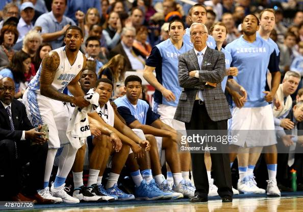 Head coach Roy Williams of the North Carolina Tar Heels watches on from the bench against the Pittsburgh Panthers during the quarterfinals of the...