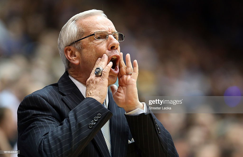 Head coach Roy Williams of the North Carolina Tar Heels yells to his team during their game against the Duke Blue Devils at Cameron Indoor Stadium on February 13, 2013 in Durham, North Carolina.
