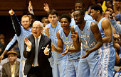 Head coach Roy Williams of the North Carolina Tar Heels yells to his team during their game against the Duke Blue Devils at Cameron Indoor Stadium on...
