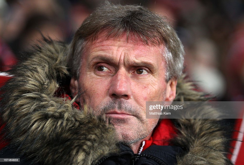 Head coach Rudolf Bommer of Cottbus looks on prior to the Second Bundesliga match between FC Energie Cottbus and Hertha BSC Berlin at Stadion der Freundschaft on December 3, 2012 in Cottbus, Germany.