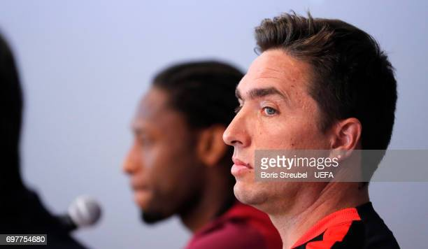Head coach Rui Jorge and player Ruben Semedo of Portugal attend the MD1 Press conference at Gdynia Sports Arena on June 19 2017 in Gdynia Poland