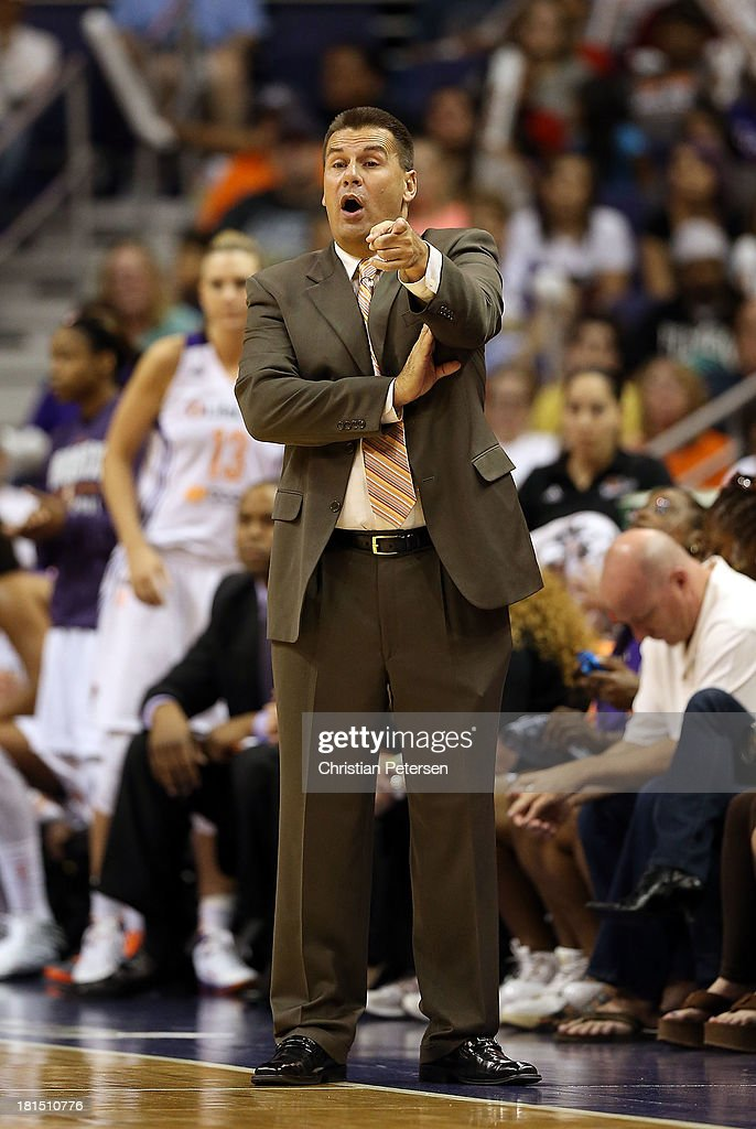 Head coach Russ Pennell of the Phoenix Mercury reacts during Game Two of the WNBA semifinal playoffs against the Los Angeles Sparks at US Airways Center on September 21, 2013 in Phoenix, Arizona. The Sparks defeated the Mercury 82-73.