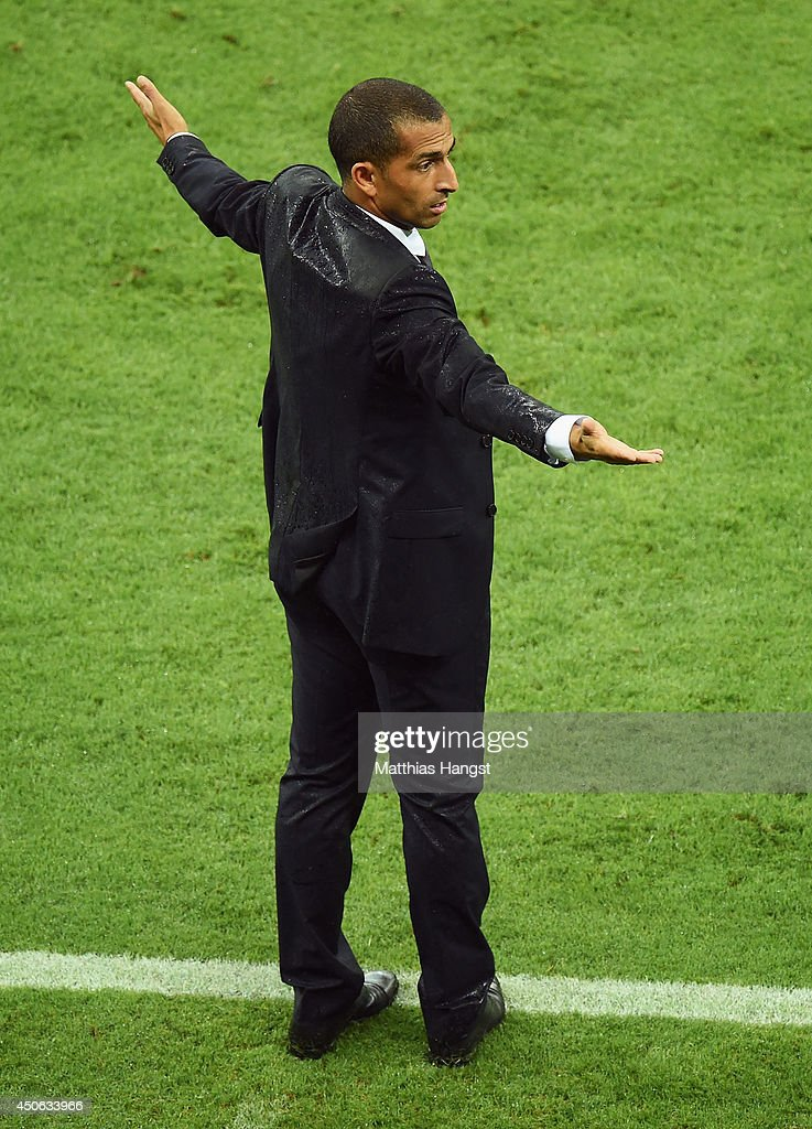 Head coach <a gi-track='captionPersonalityLinkClicked' href=/galleries/search?phrase=Sabri+Lamouchi&family=editorial&specificpeople=648801 ng-click='$event.stopPropagation()'>Sabri Lamouchi</a> of the Ivory Coast reacts on the sideline during the 2014 FIFA World Cup Brazil Group C match between the Ivory Coast and Japan at Arena Pernambuco on June 14, 2014 in Recife, Brazil.