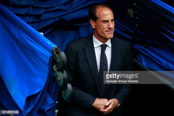Head coach Salvador alias Voro Gonzalez of Valencia CF enters the pitch prior to start the La Liga match between Real Madrid CF and Valencia CF at...