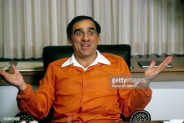 Head Coach Sam Rutigliano of the Cleveland Browns in this portrait in his office circa 1983 in Cleveland Ohio Rutigliano was the head coach of the...